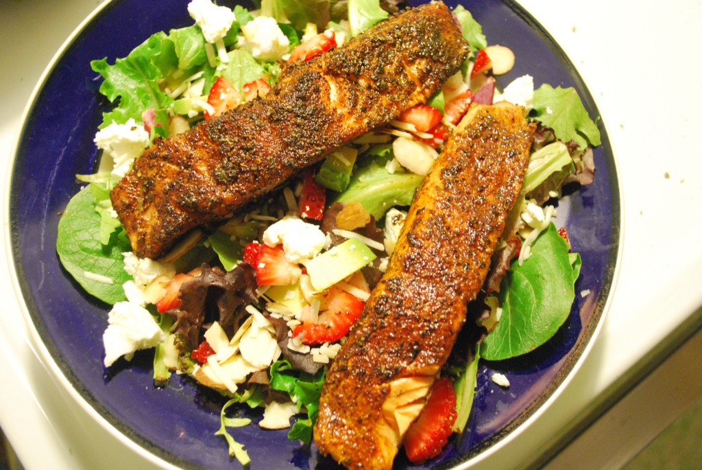 Blackened Salmon on a Salad