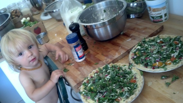 Rio making quiche.